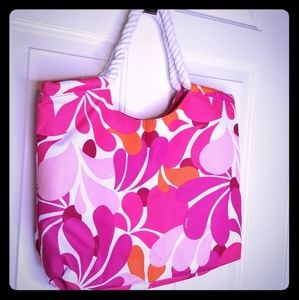 NEW Clinique Tote bag Pink Flowers Rope handles